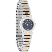 Decade Quartz Ladies Blue Dial 2T Stretch Expansion Bracelet Dress Watch 23243