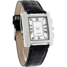 Fashion Quartz Mens 38mm Roman # White Dial Silver Tone Black Leather Band Watch