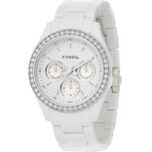 Fossil Es1967 Ladies Crystal White Plastic Band Watch