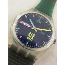 Gk700 Swatch 1991 Giro Date Day Authentic Swiss Watch