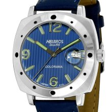 Helbros Mens Colorama Silver Tone Blue Leather Strap/Blue Calendar Dial Watch - Blue - Stainless Steel
