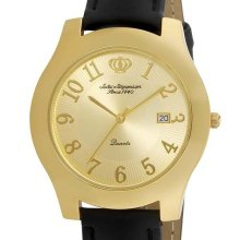 Jules Jurgensen Mens Gold Tone Black Strap Watch with Champagne Calendar Dial - Multi-color - Stainless Steel