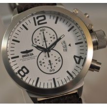 Mens Invicta 3450 Corduba Classic White Dial Chronograph Brown Leather Watch
