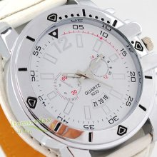 Mens White Quartz Deco Dial Wrist Watch Leather Band Steel Gift Hot Boys