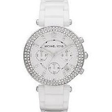 Michael Kors Ladies Watch Chronograph Parker White Ceramic Crystals Mk5654