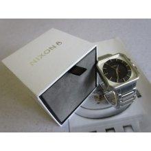 Nixon Wrist Watch The Platform All Silver Steel / Black | 100m Men's Light W/box