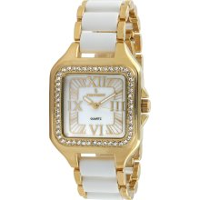 Peugeot Women's Goldtone Crystal-accented Watch (Peugeot Swarovski Rose Gold White Acrylic Watch)