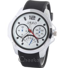 Round Face Fashion Wristwatch Black & White Dial Quartz Mens Boy Sport Sh009