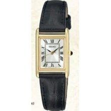 Seiko Ladies Black Genuine Leather Strap Gold Watch W/ White Square Dial