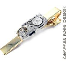 Steampunk Wedding Tie Clip Men's Steampunk Vintage Elgin Silver on Brass Jeweled Watch Movement Tie Clip Handmade by Compass Rose Design