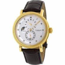Stuhrling Original 97.3335K2 Mens Classic Concerto Maestro Slim Swiss Quartz with Yellow Gold Plated Stainless Steel Case Silver Dial and Brown Leather Strap Watch