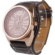Unisex Big Dial Style Leather PU Quartz Wrist Watch (Brown)