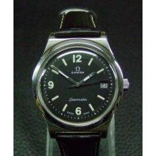 Vintage Omega Seamaster Manual Date Mans Watch Black Dial