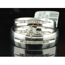 14k Mens Ladies White Gold Diamond Engagement Ring Wedding Band Trio Bridal Set
