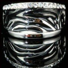 18k White Gold Plated Black Enamel Zebra Print Swarovski Crystal Fashion Ring