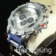 2 Tone Hand Round Classy Dial Cee Lo Hip Hop Iced Out Watch Stainless Steel Back