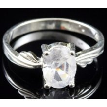 925 Sterling Silver White Topaz Cz Ring Sr251 Size 6.5