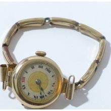 Antique 9k Gold BUREN 15J Ladies Watch Roman 2-tone Dial ca. 1920