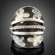 Arinna 18k White Gold Gp Helmet Petal Austrian Crystal Setting Weave Ring