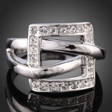 Arinna Square Wedding Engagement Fashion Finger Ring 18k Wgp Swarovski Crystal