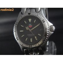 Auth Tag Heuer Mens Mid Size Sel Gray Dial Ss Quarts Wrist Watch Great