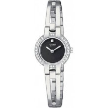 Citizen Ladies Silhouette Crystal Bangle Stainless Steel Black Dial Watch