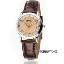 Eyki Couples Watch Fashion Simple Analog Brown Leather Wrist Quartz Watch Women