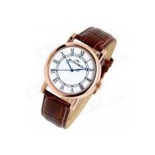 Fashion Men Women ST.PATRICK FI-156B Genuine Leather Band Steel Analog Quartz Rhinestone Wrist Watch Brown