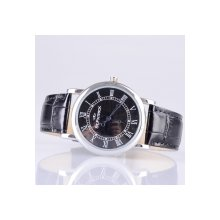 Fashion ST PATRICK FI-156A Men Women Adults Genuine Leather Band Analog Quartz Rhinestone Wrist Watch Black