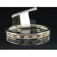 Ladies 10k White Gold Brown & White Diamond Engagement Ring Wedding Band 0.24 Ct