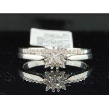 Ladies 10k White Gold Princess Cut Diamond Engagement Ring Wedding Bridal Set