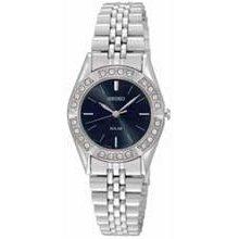 Ladies' Seiko Solar Swarovski Crystal Watch with Black Dial (Model: