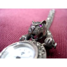 Magnificent Sterling Silver Marcasite Ruby Panther Cat Watch Bracelet With Ring