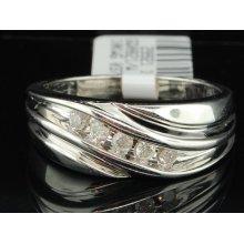 Mens 10k White Gold 1/4ct Round Cut Diamond Engagement Ring Wedding Band 5 Stone