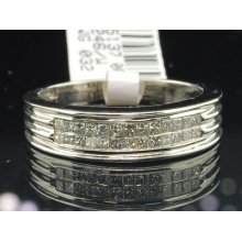 Mens 14k White Gold Princess Channel Diamond Ring Engagement Wedding Band .50 Ct