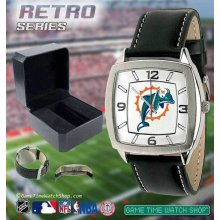 Mens Retro Game Time Logo Watch Square Dial Adjustable Leather Band NFL Teams
