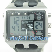 Men's Waterproof Sport Quartz Watch Ohsen Digital Analog Chrono Black Dial