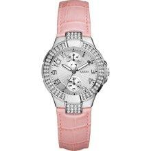 Mini Prism Guess Swarvoski Crystal Ss Pink Leather Strap Lady Watch U10580l3