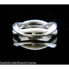 Nice 925 Sterling Silver Criss Cross Wrap Diamond Ring Size 6.5