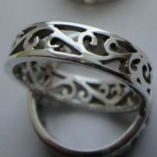 Open Cut Floral Vine Filigree Band .925 Sterling Silver Ring Size 6