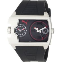 Puma Mens Motor Traffic Black & Red Dial Stainless Steel Case Dual Time Watch
