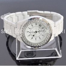 Soki White Crystal Analog Quartz Womens Ladies Wrist Band Travel Watch L83