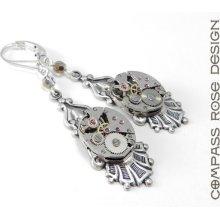 Steampunk Earrings, Edwardian Watch Jewelry, Mechanical Movement Clockwork, Silver & Gold Crystal