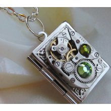 Steampunk necklace, Steampunk book locket necklace - with vintage watch movement and real Swarovski crystals