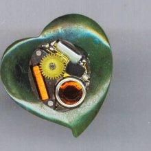 Steampunk Ring . Vintage Watch Movement . Rhinestone . Green Jade Heart . OOAK Ring - My Heart's Desire by enchantedbeas on Etsy