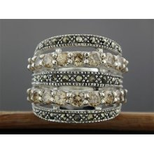 Sterling Silver Champagne Cz & Marcasite Pattern Row Ring Size 9