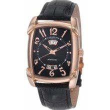 Stuhrling Original 98.33451 Lady Wall Street Slim Swiss with Rose Gold Plated Stainless Steel Case Black Dial and Black Leather Strap Watch