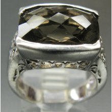 Stunning Faceted Smokey Quarts Crystal Ornate Setting Sterling Silver Vintage Ring
