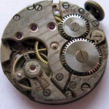 Used Swiss Early Fef Round Watch Movement 15 Jewels