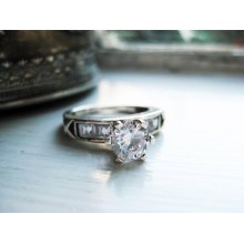Vintage Classic Engagement Ring, Promise, Purity with 6mm Cubic Zirconia Stone in Silver- Size 5.5